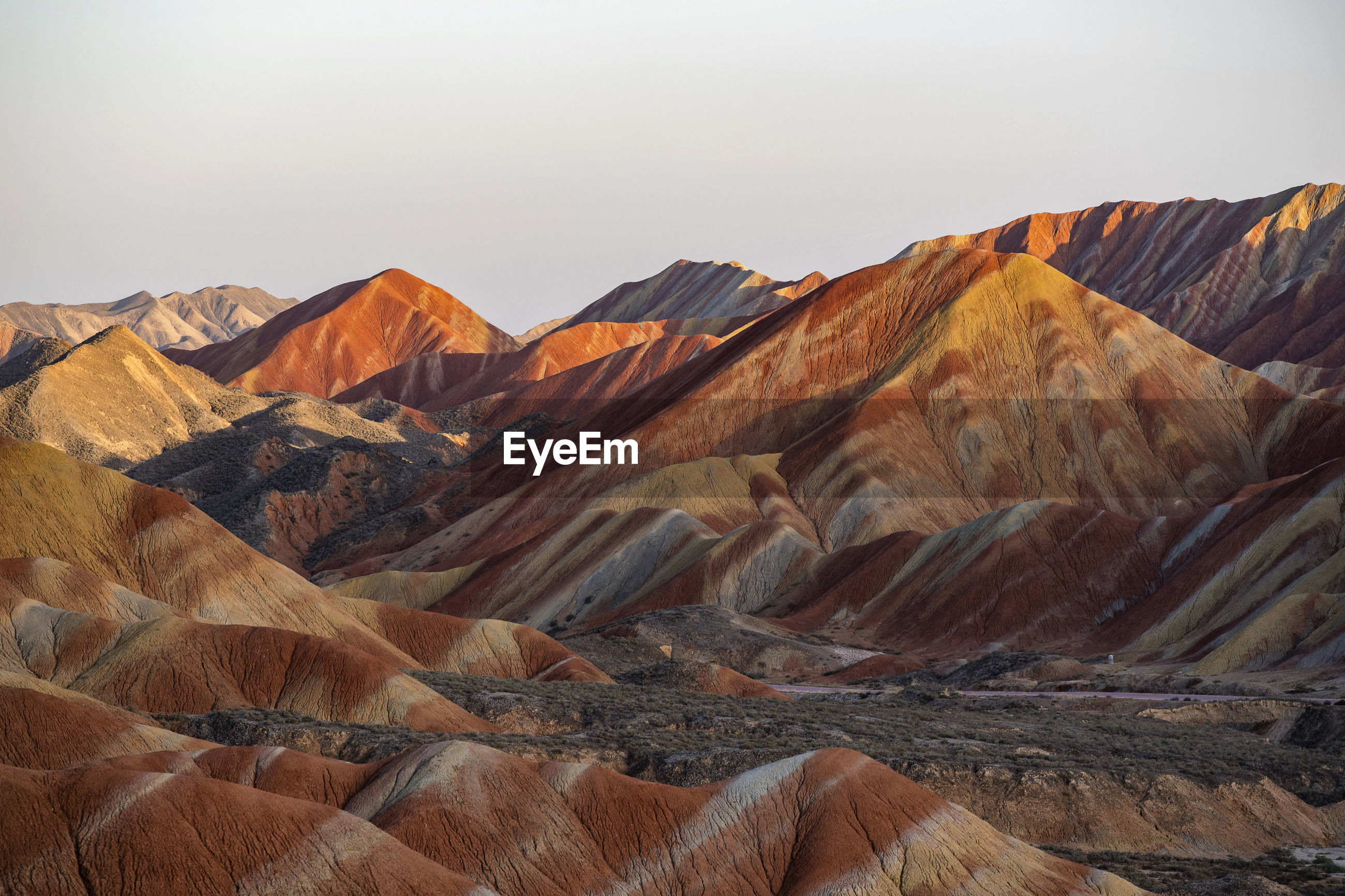 Colorful zhangye danxia national geopark or china's rainbow mountains during sunset, gansu, china