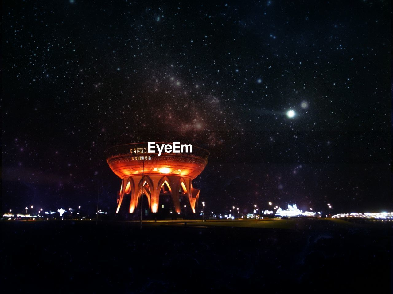 Low Angle View Of Kazan Family Center Against Starry Sky At Night