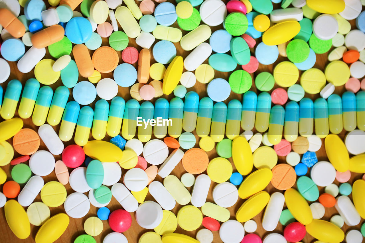 Full frame shot of colorful pills