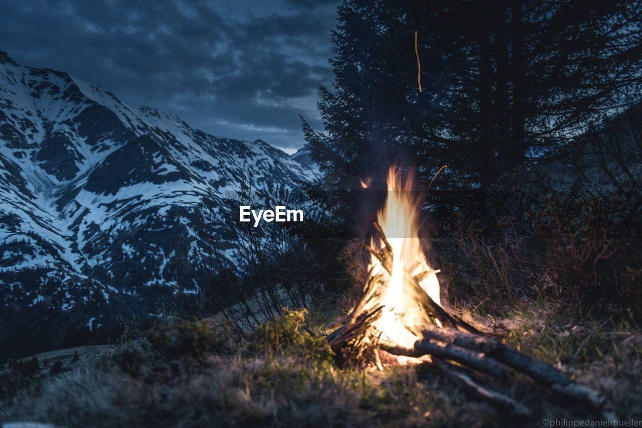 Bonfire On Log In Forest Against Sky
