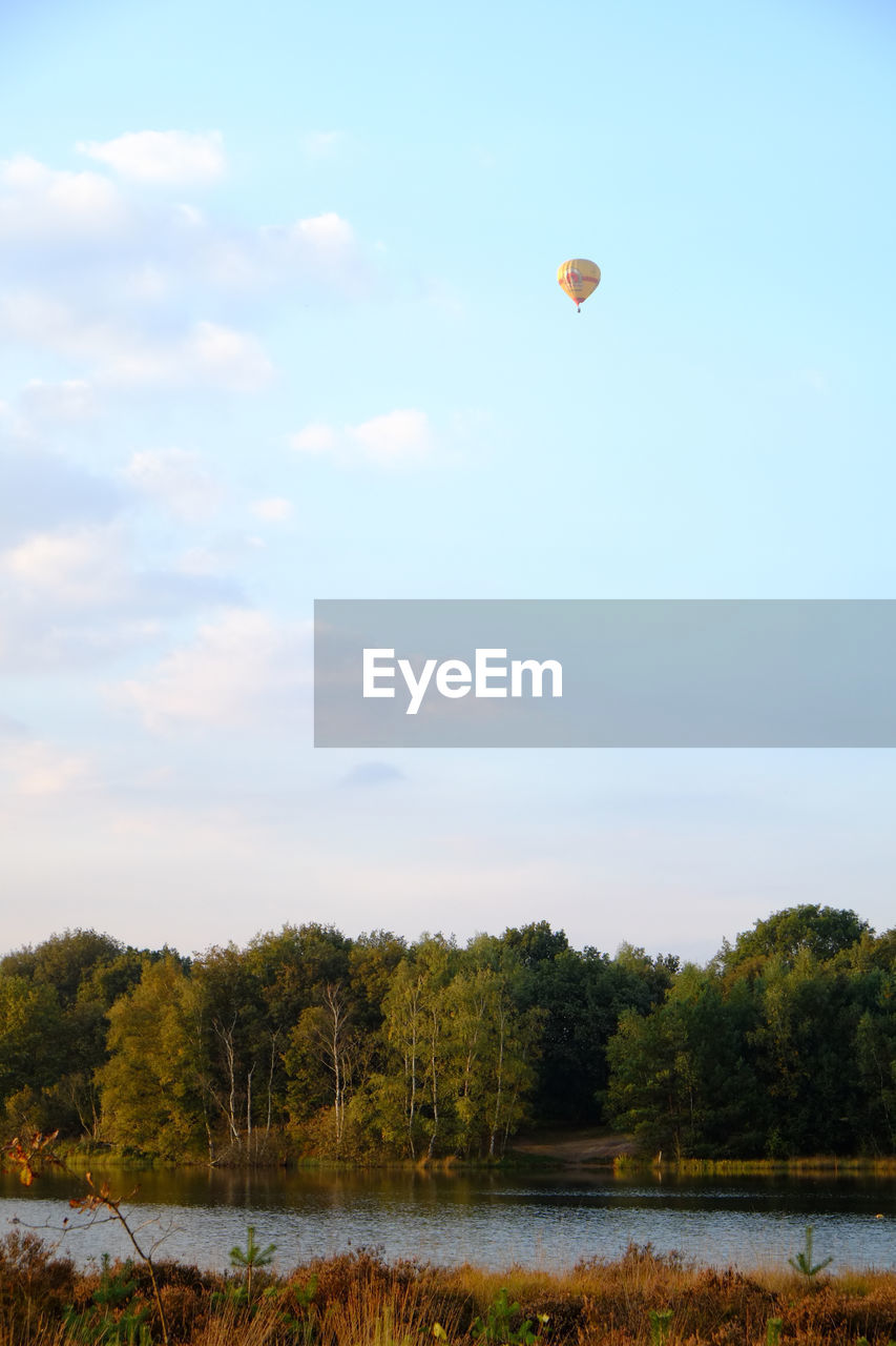 sky, beauty in nature, tree, cloud - sky, plant, mid-air, scenics - nature, tranquility, water, nature, tranquil scene, flying, balloon, hot air balloon, day, air vehicle, non-urban scene, growth, transportation, outdoors, no people