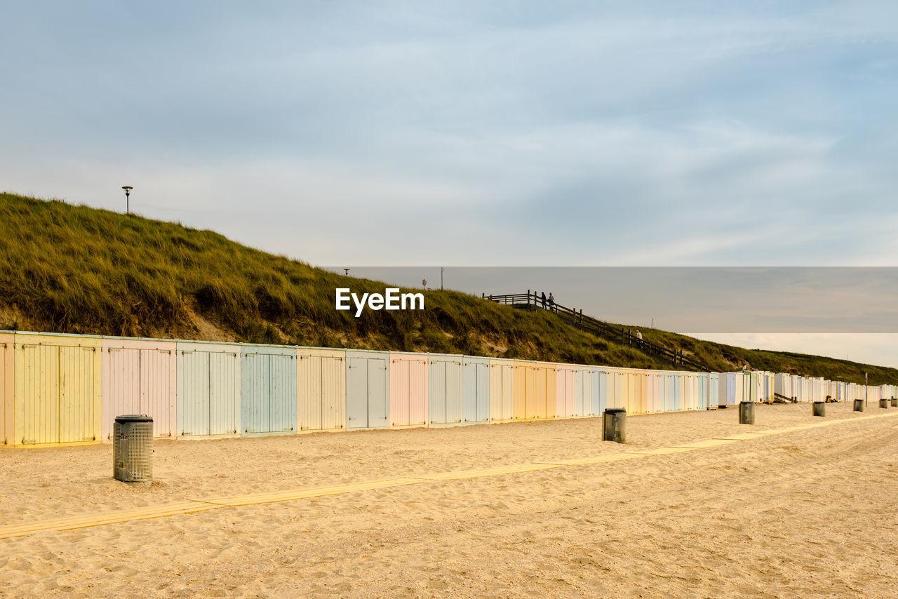 Scenic View Of Beach Lockers