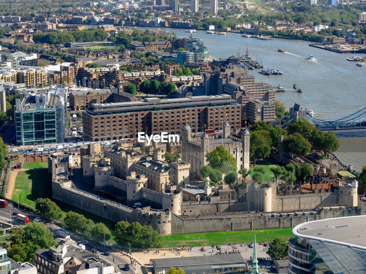 High Angle View Of Tower Of London Next To River Thames