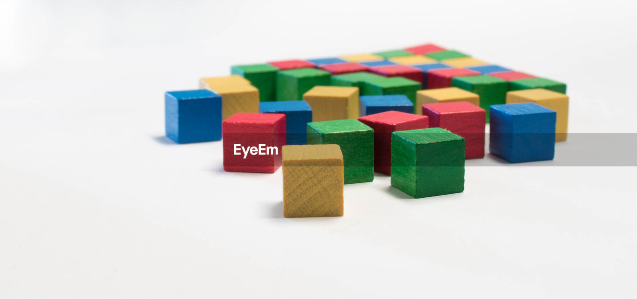 Colorful blocks on white background