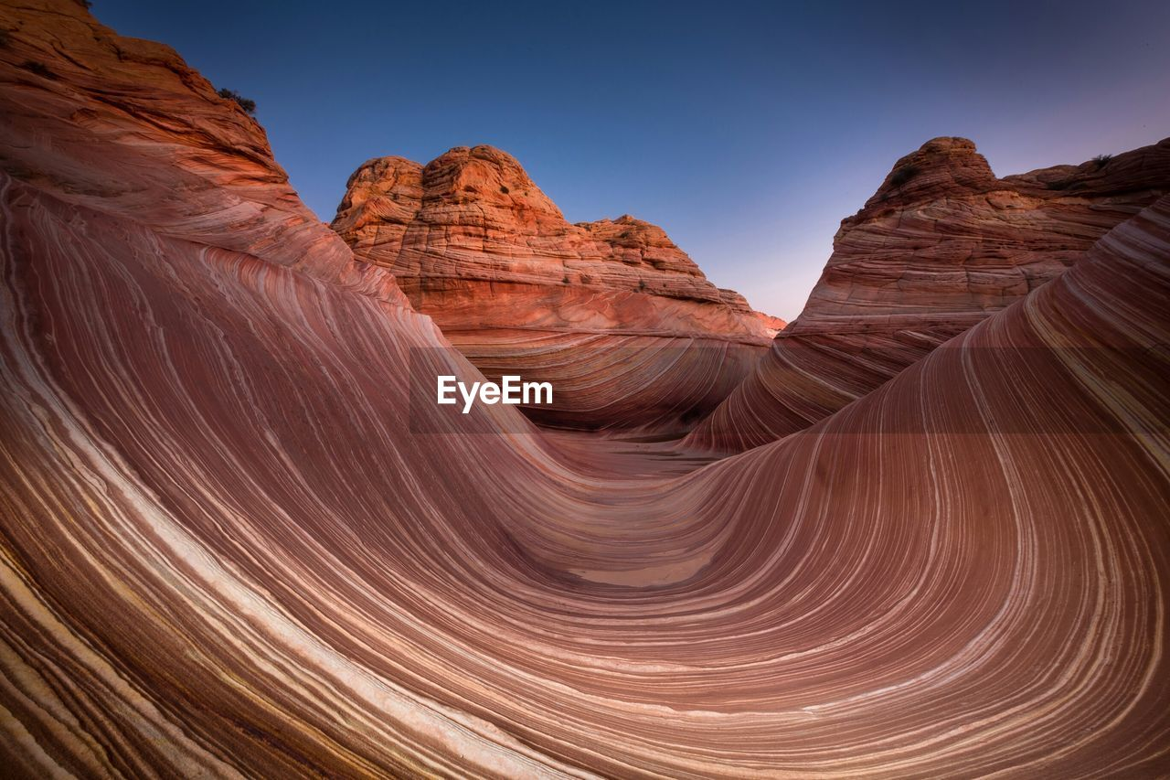 Coyote buttes against clear blue sky