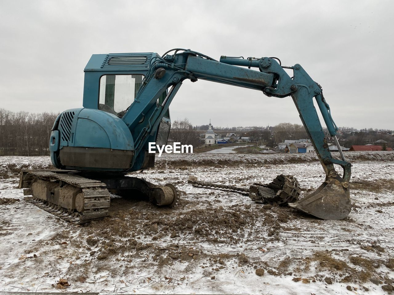 CONSTRUCTION SITE ON FIELD DURING WINTER