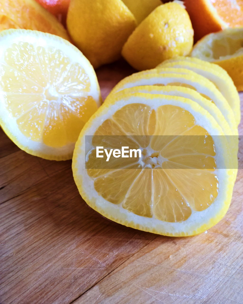 High angle view of lemon slices on table