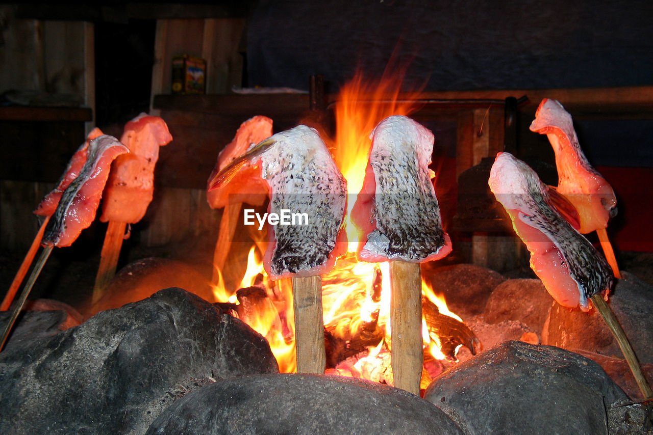 CLOSE-UP OF BONFIRE ON BARBECUE