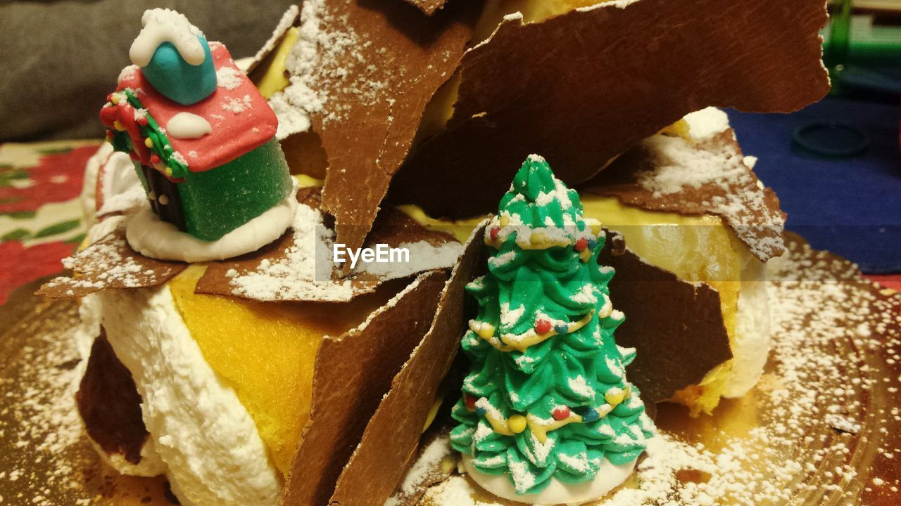 Close-up of desserts in plate during christmas