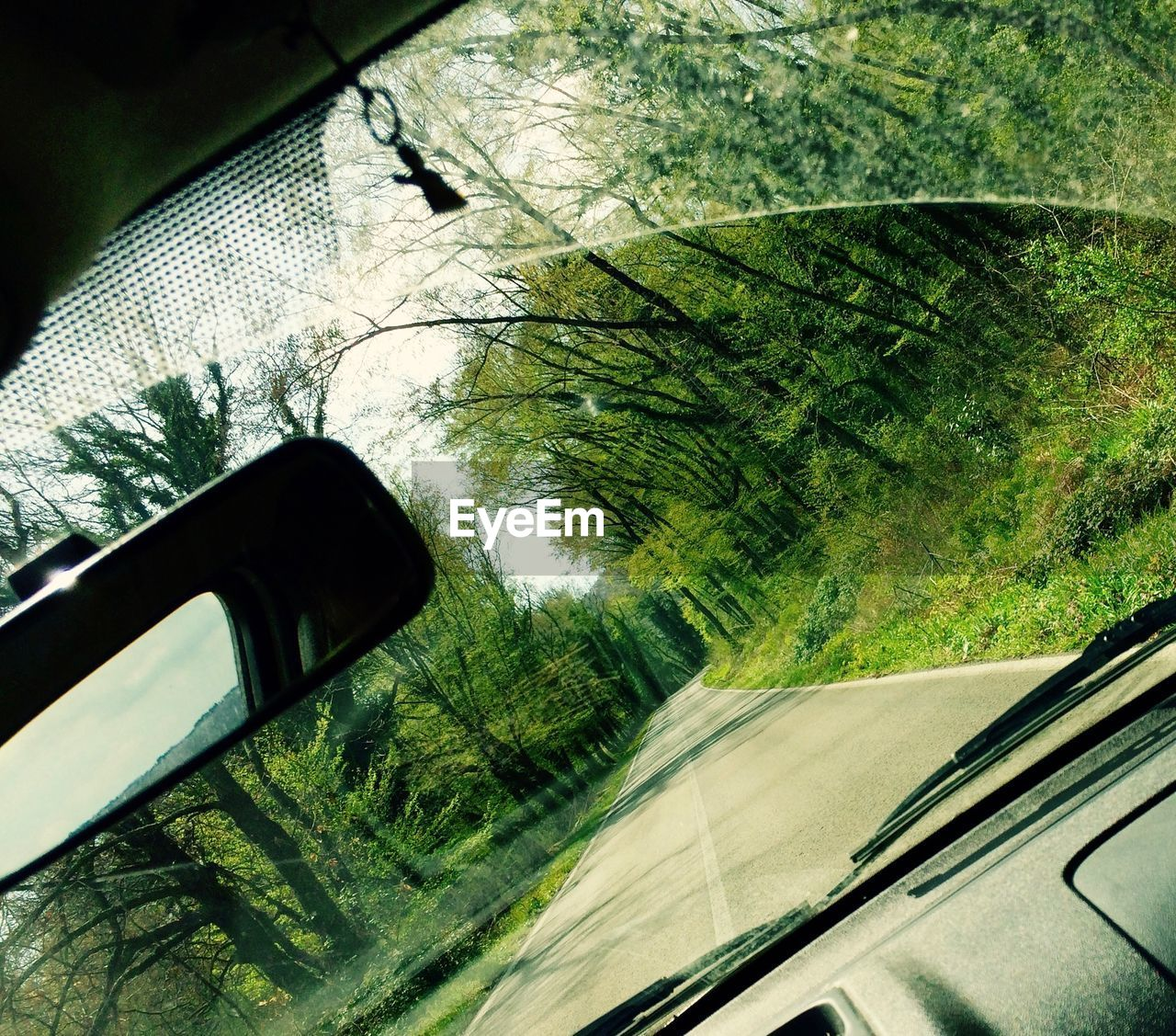 car, transportation, land vehicle, mode of transport, tree, reflection, side-view mirror, journey, road, day, windshield, no people, window, travel, car interior, close-up, road trip, vehicle mirror, outdoors, nature, sky