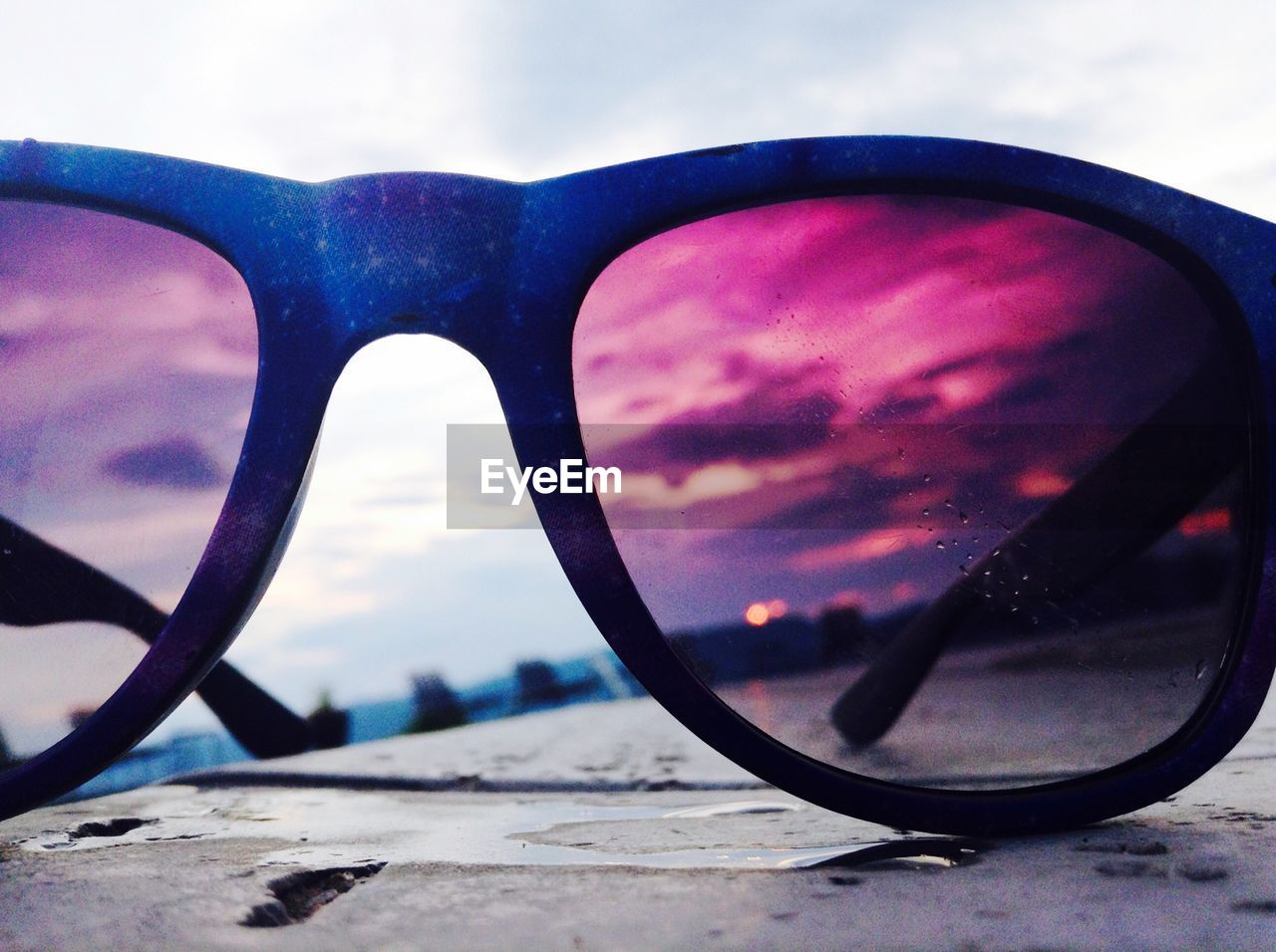 sunglasses, sky, no people, reflection, outdoors, side-view mirror, cloud - sky, close-up, nature, day, eyewear