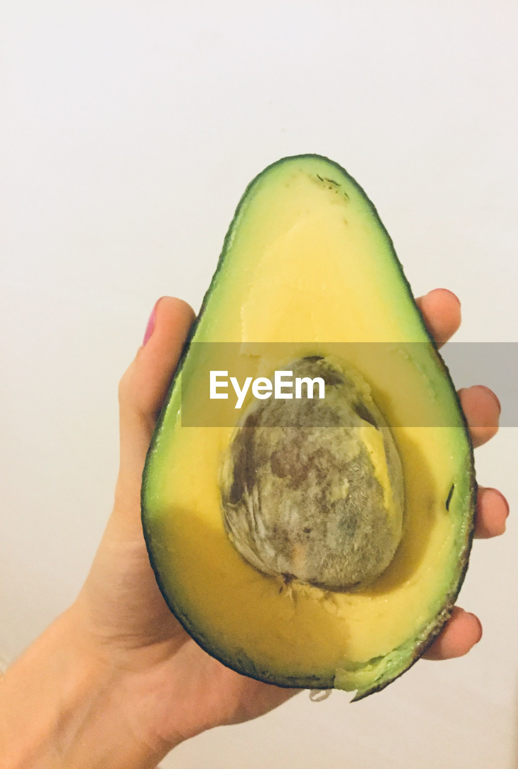 Close-up of hand holding avocado against white background