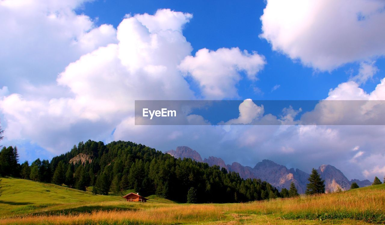 cloud - sky, sky, beauty in nature, scenics - nature, plant, tranquility, mountain, tranquil scene, tree, environment, landscape, land, nature, grass, non-urban scene, field, no people, green color, idyllic, mountain range