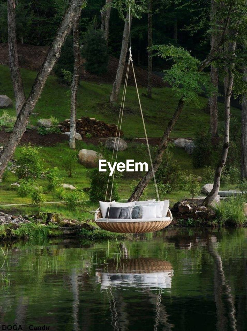 water, nature, tree, nautical vessel, reflection, transportation, lake, day, outdoors, mode of transport, tranquility, tranquil scene, hanging, beauty in nature, no people, waterfront, wooden raft, scenics, moored