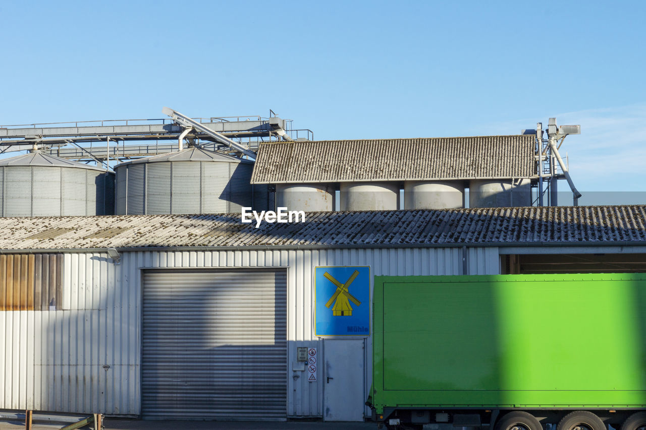 architecture, built structure, building exterior, building, sky, day, nature, no people, clear sky, blue, residential district, factory, house, window, industry, outdoors, low angle view, sunlight, metal, green color, roof tile, corrugated, industrial equipment
