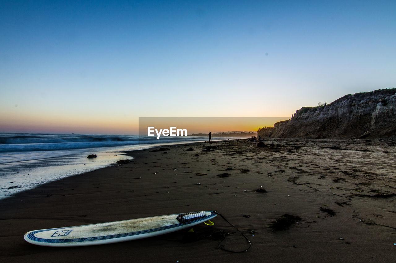 BOAT ON BEACH AGAINST CLEAR SKY