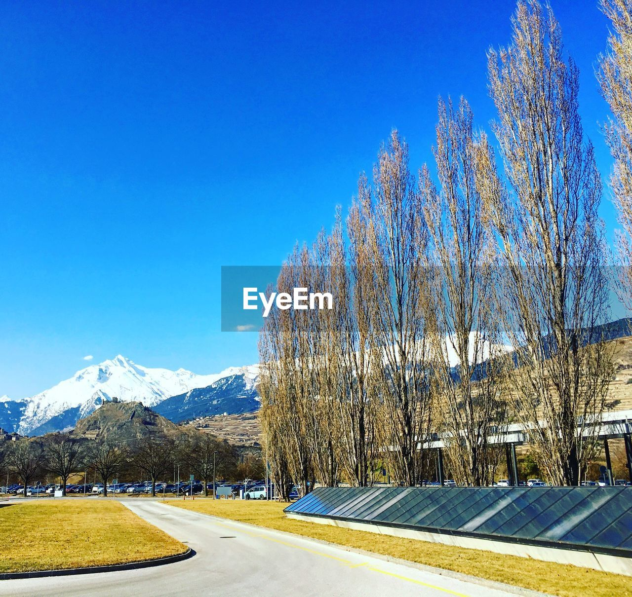 blue, snow, clear sky, mountain, nature, tree, beauty in nature, day, tranquility, outdoors, no people, winter, cold temperature, tranquil scene, scenics, sky, landscape, bare tree, road