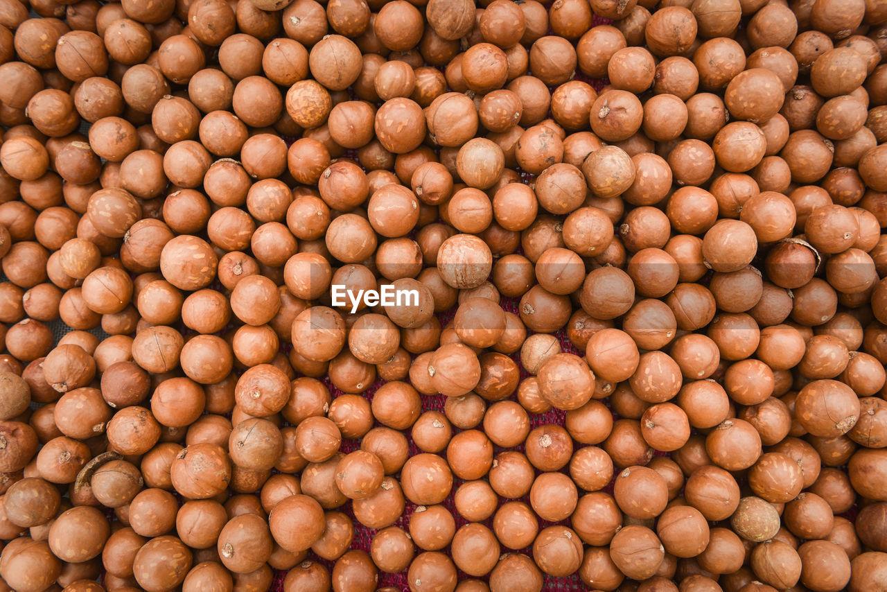 Full frame shot of nuts for sale in market