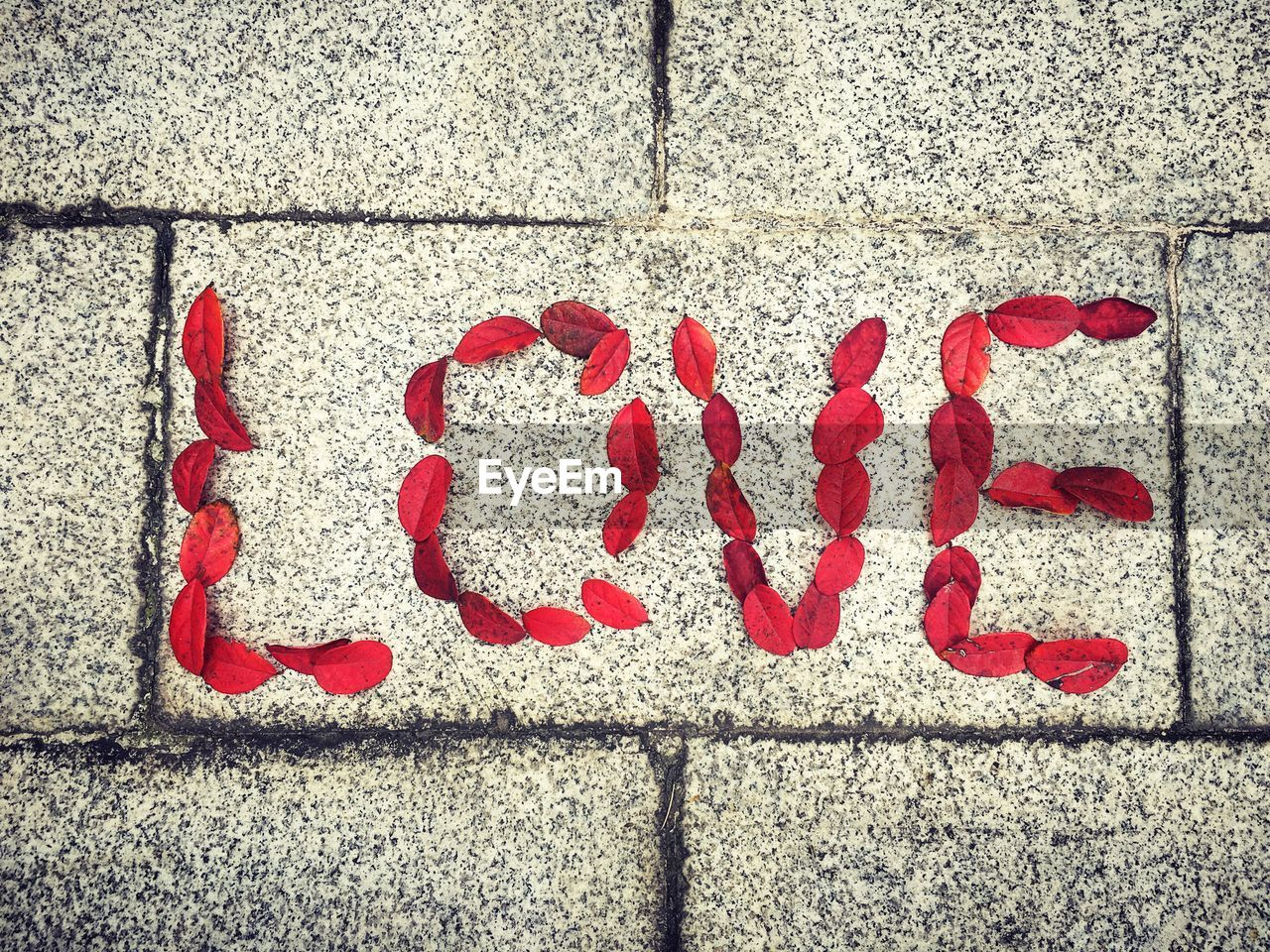 Close-up high angle view of love word