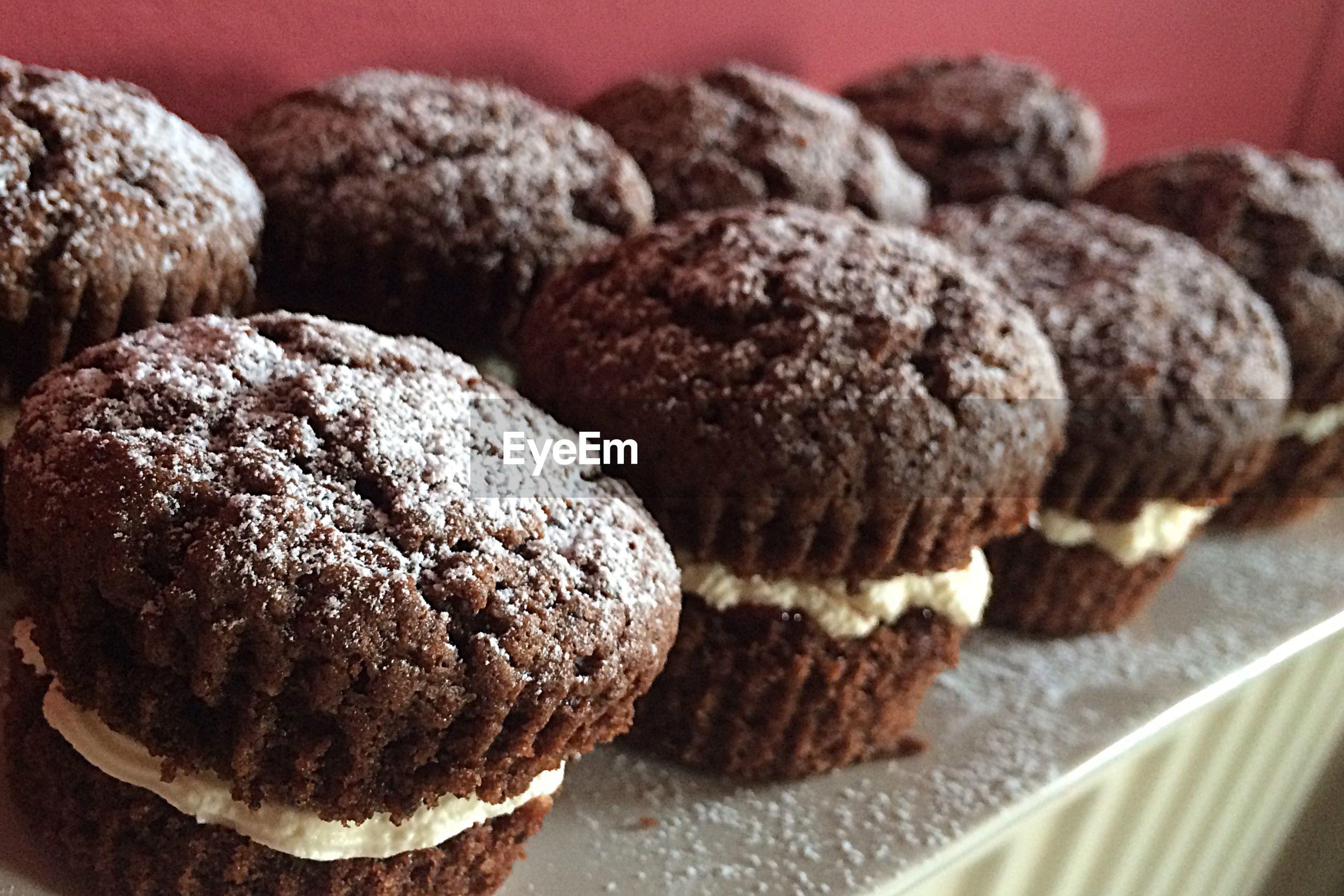 Close-up of homemade chocolate cupcakes