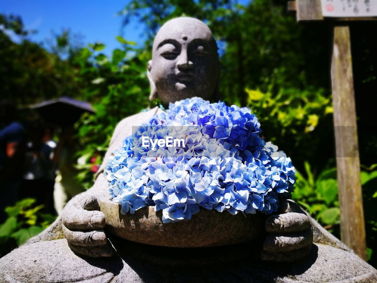 statue, human representation, sculpture, focus on foreground, outdoors, spirituality, flower, religion, blue, day, no people, close-up, nature