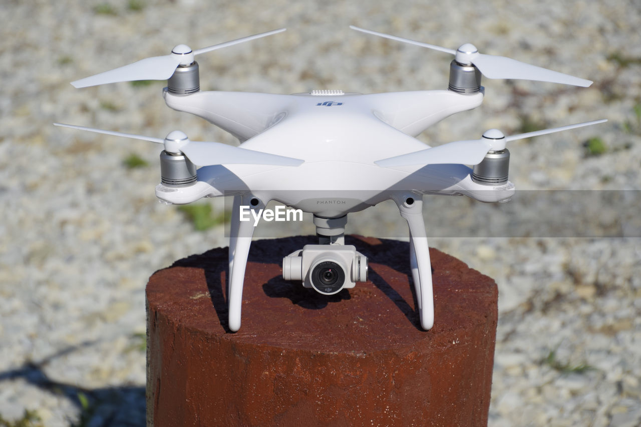 Close-up of drone on metal