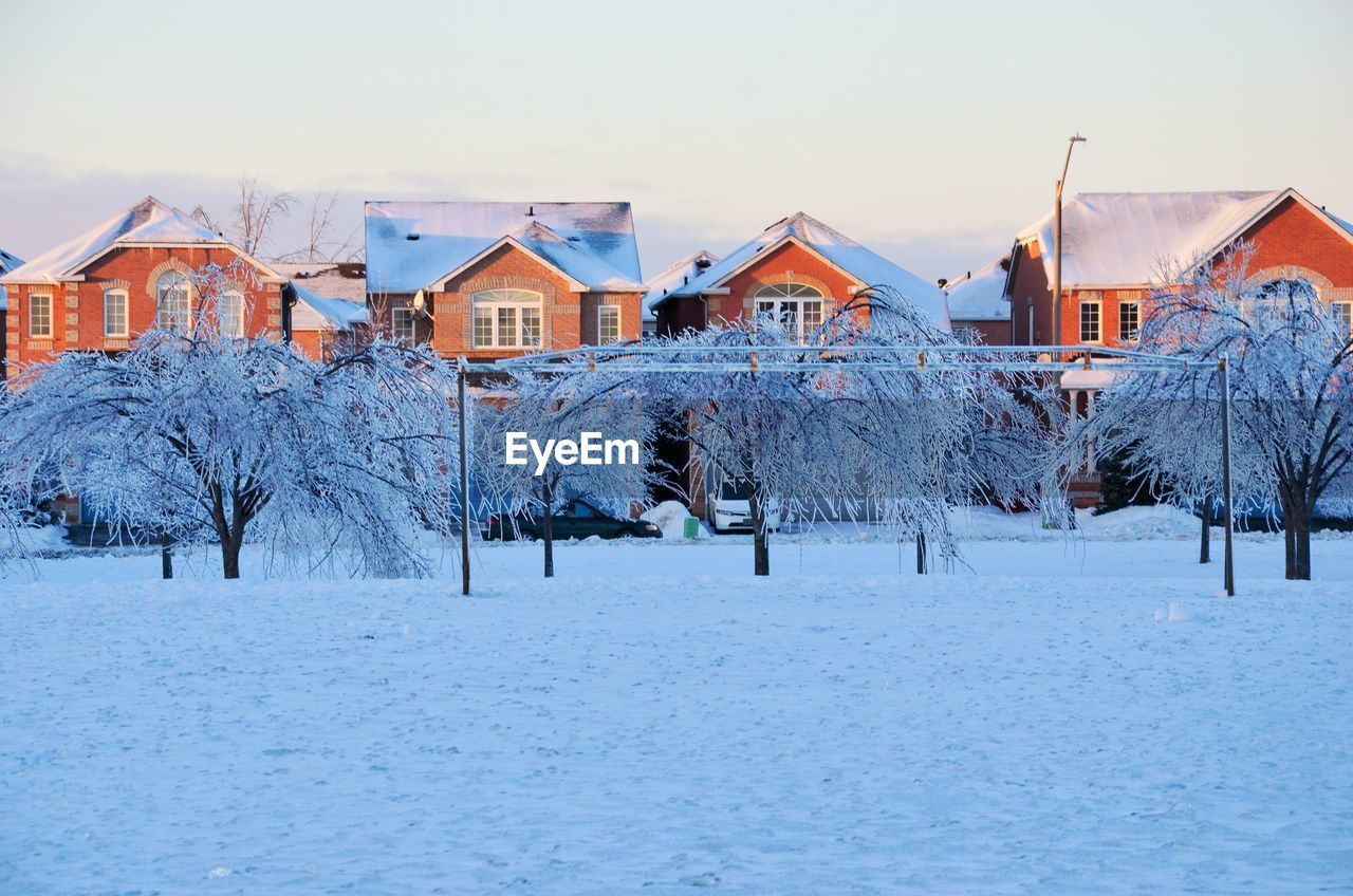 Trees On Snow Covered Field By Houses Against Sky