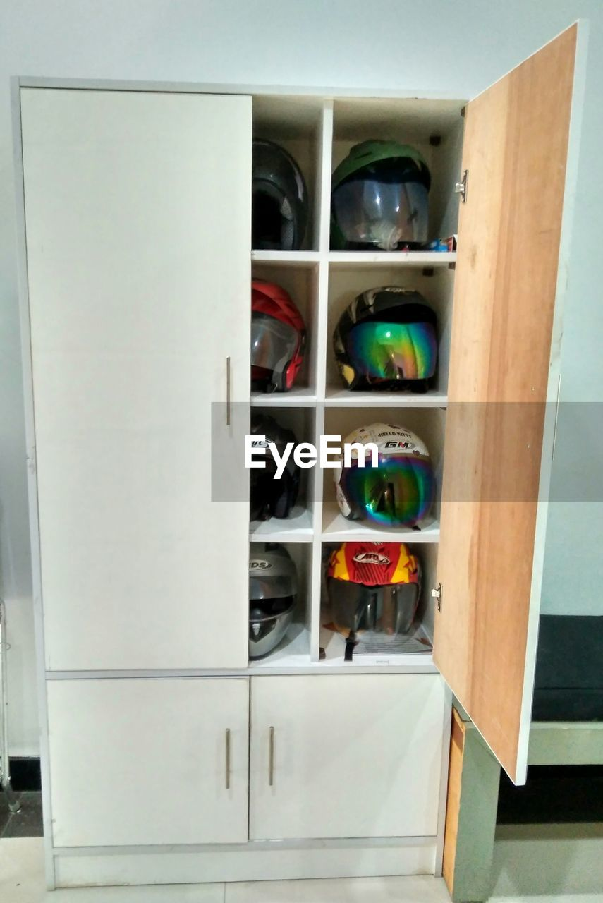 shelf, indoors, storage compartment, open, variation, no people, home interior, choice, day, close-up