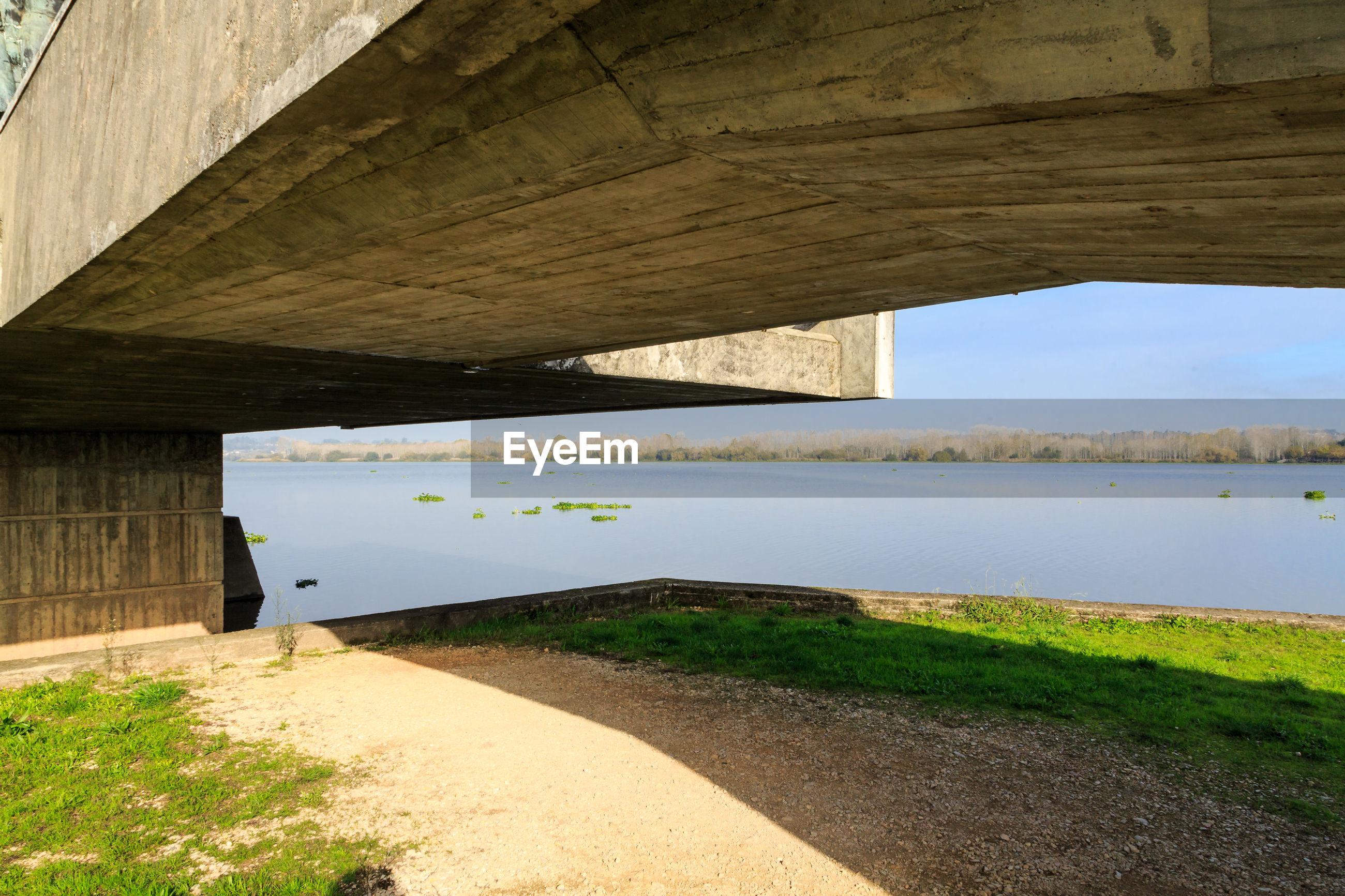 Scenic view of bridge over river against sky