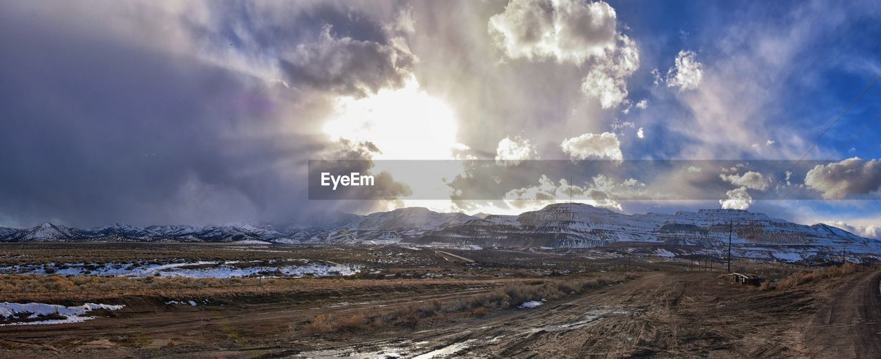 sky, cloud - sky, scenics - nature, environment, beauty in nature, landscape, tranquil scene, snow, tranquility, mountain, nature, non-urban scene, winter, day, no people, cold temperature, sunlight, land, outdoors, snowcapped mountain, arid climate