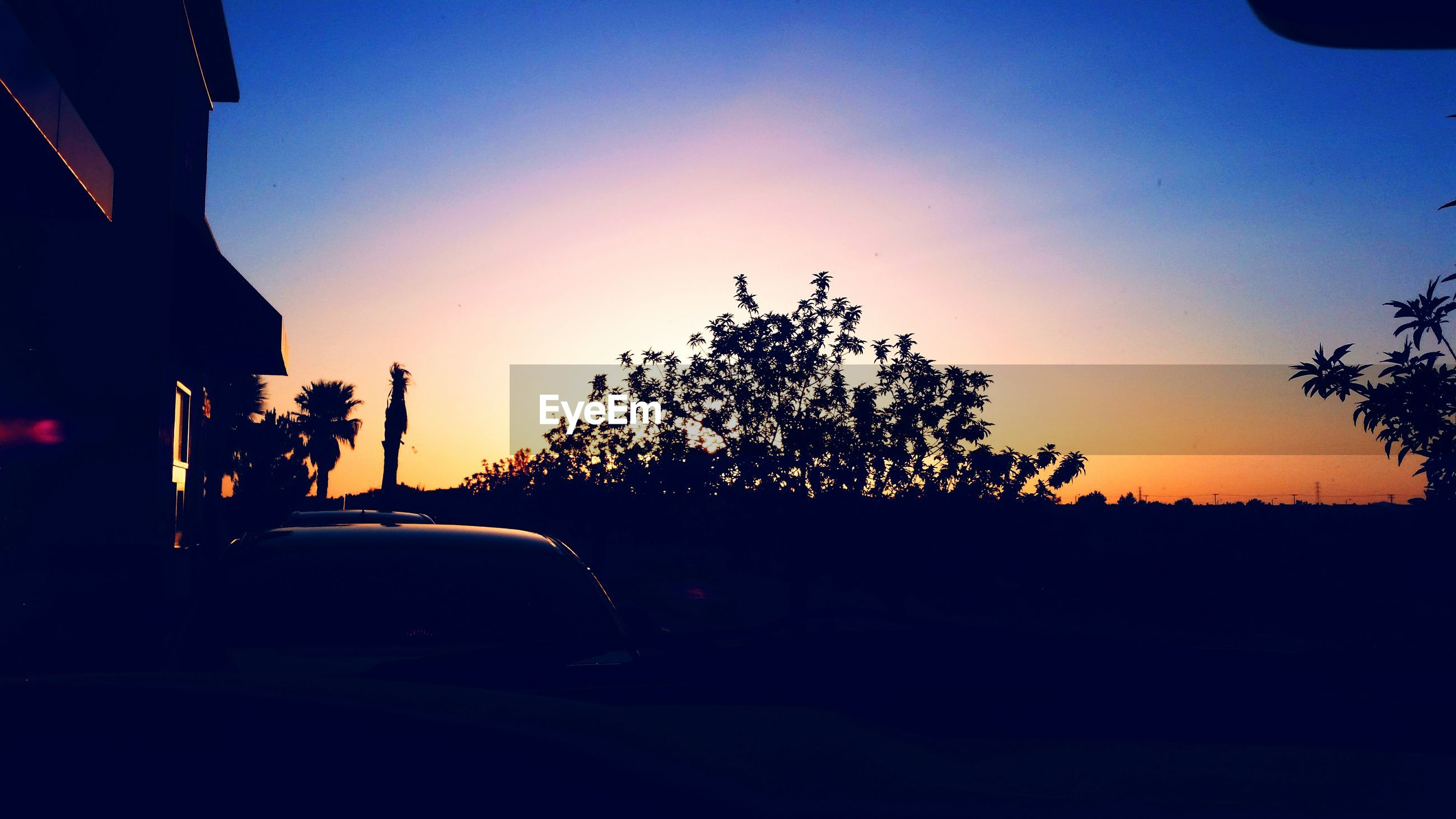 sunset, silhouette, tree, clear sky, transportation, land vehicle, copy space, car, mode of transport, orange color, sky, dusk, nature, dark, road, tranquility, beauty in nature, sun, blue, sunlight