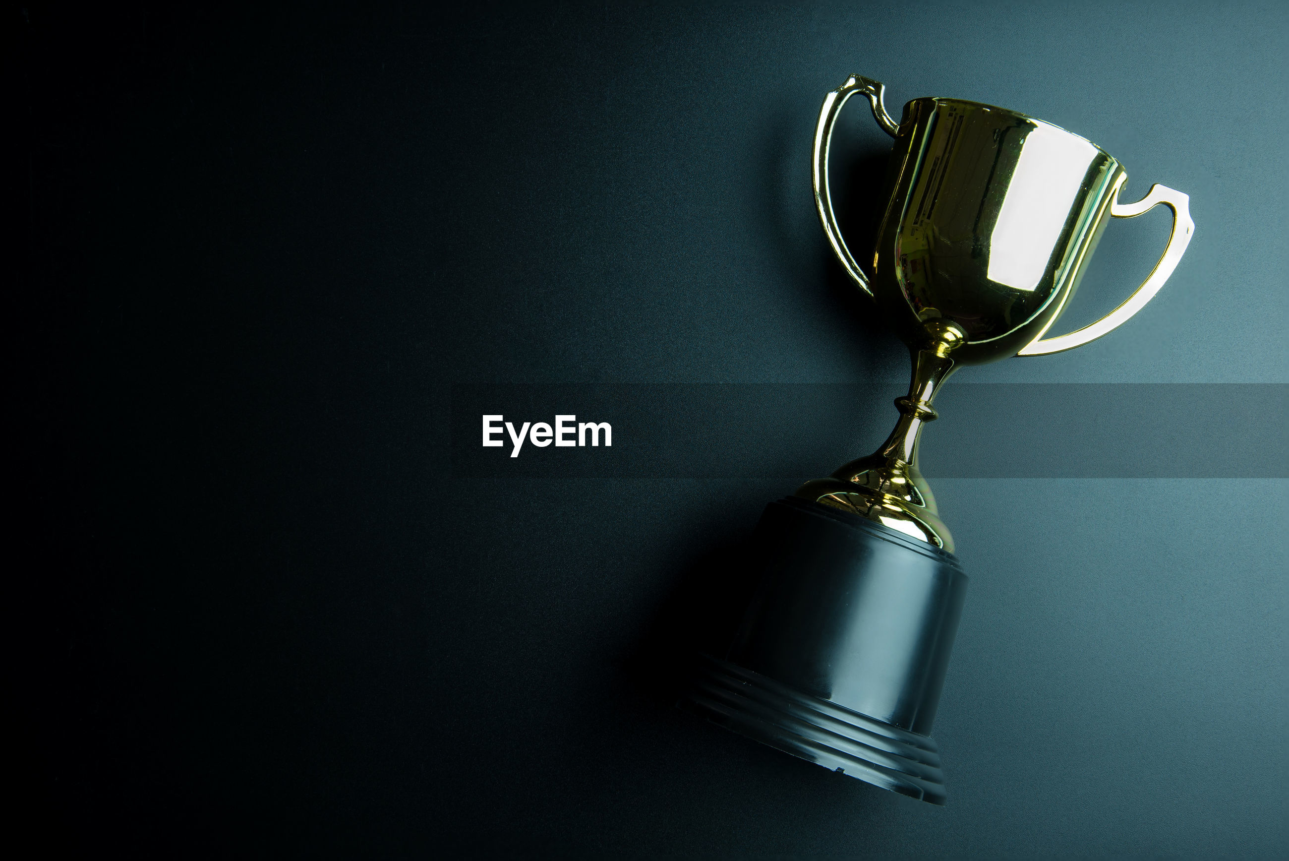 Directly above view of trophy on black background