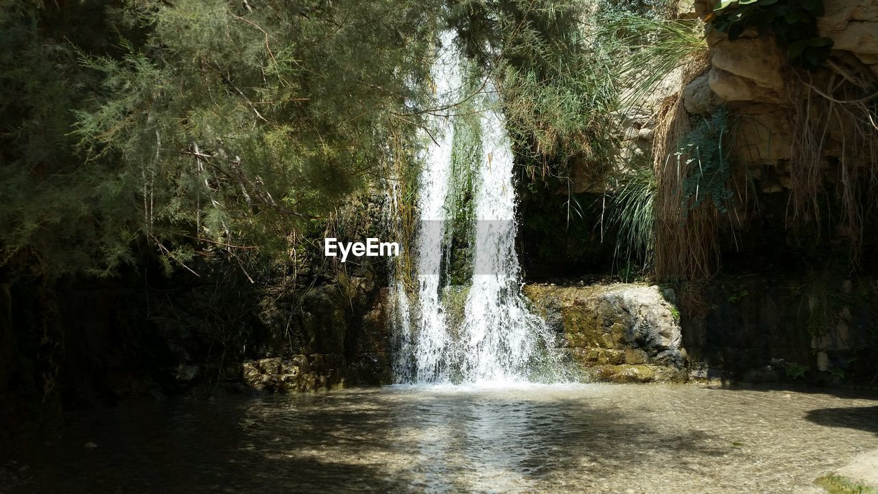 Scenic View Of Waterfall At Ein Gedi