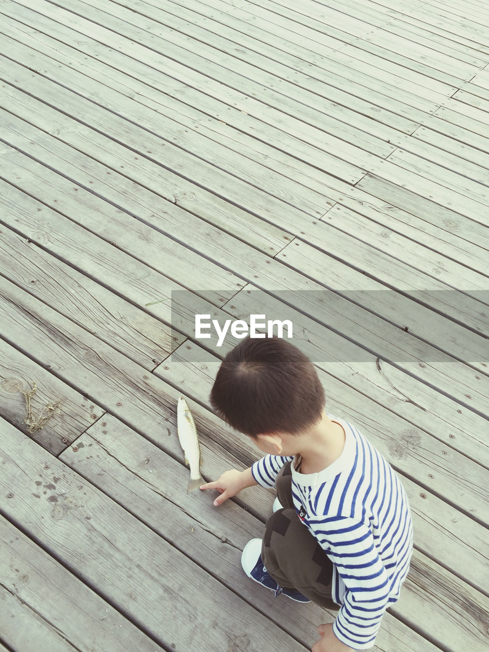 childhood, wood - material, leisure activity, lifestyles, innocence, casual clothing, holding, day, toddler, boardwalk, carefree