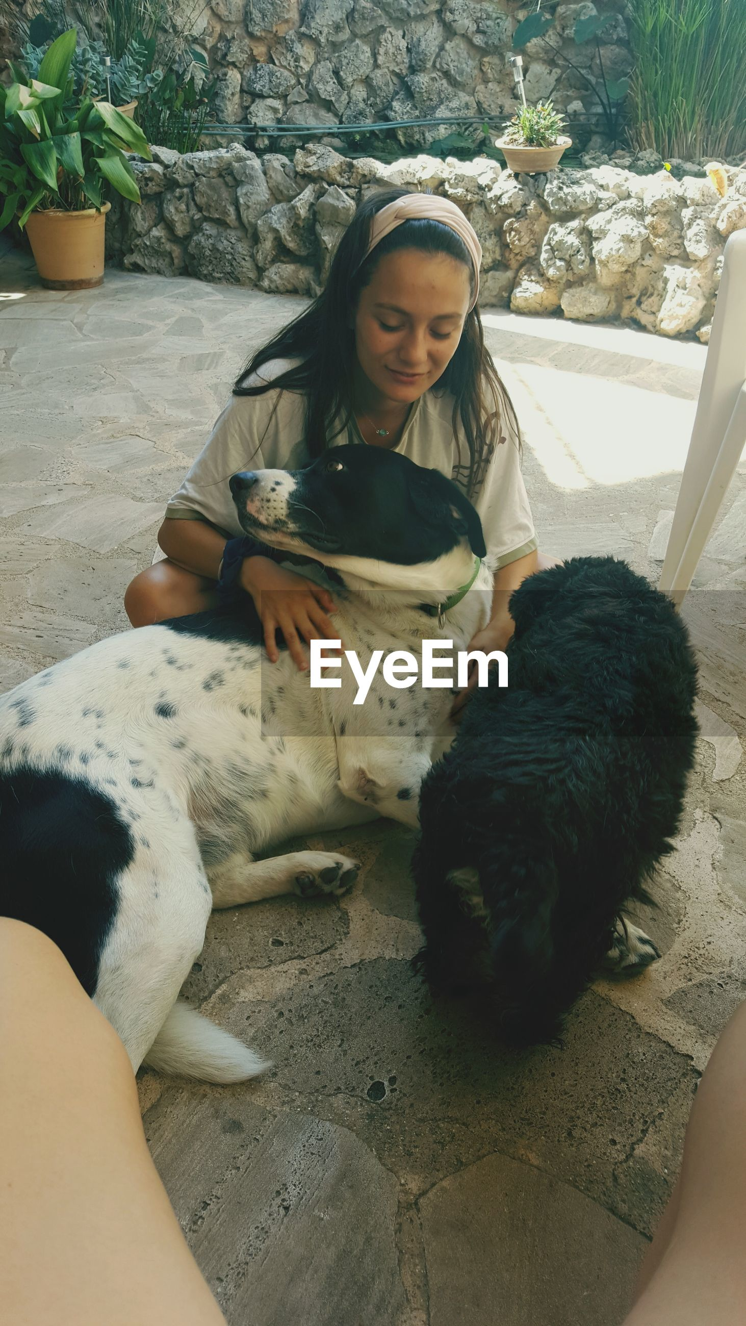 pets, real people, animal themes, one animal, dog, domestic animals, mammal, one person, leisure activity, young adult, full length, relaxation, lifestyles, young women, sitting, day, indoors