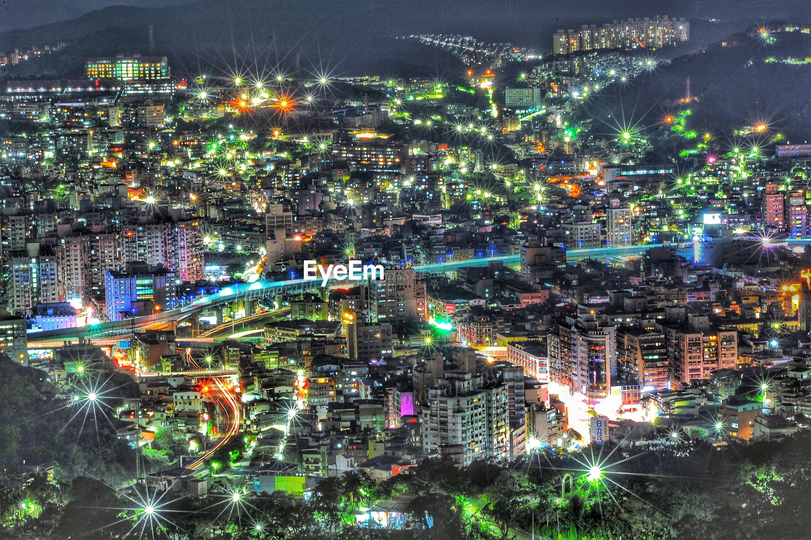 illuminated, cityscape, night, city, multi colored, architecture, long exposure, city life, building exterior, no people, outdoors