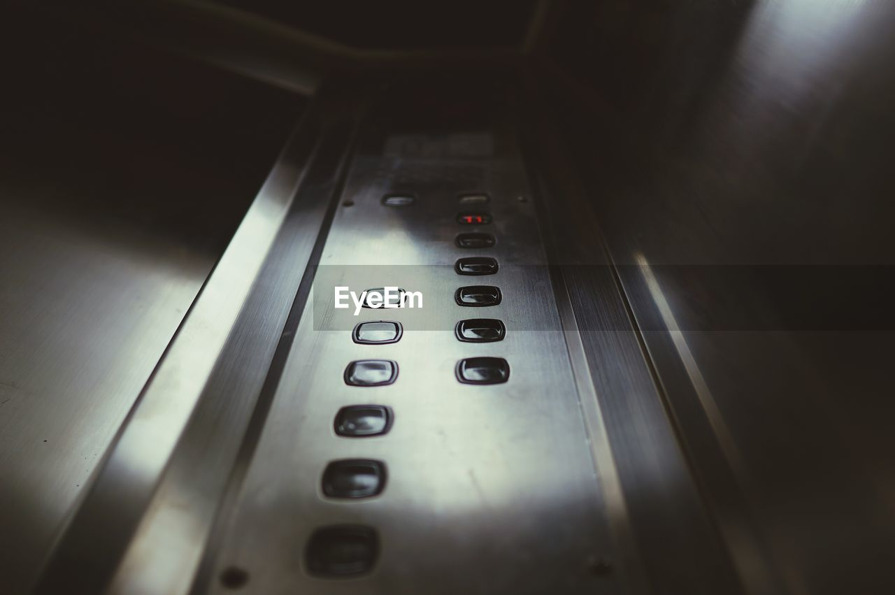 Low Angle View Of Buttons In Elevator