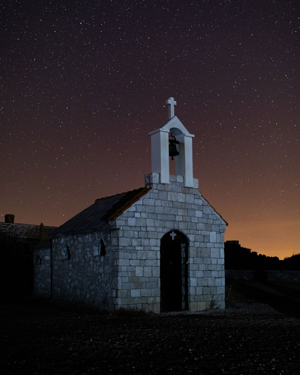 built structure, night, star - space, architecture, sky, building exterior, astronomy, religion, belief, place of worship, spirituality, building, star, star field, space, nature, galaxy, no people, space and astronomy