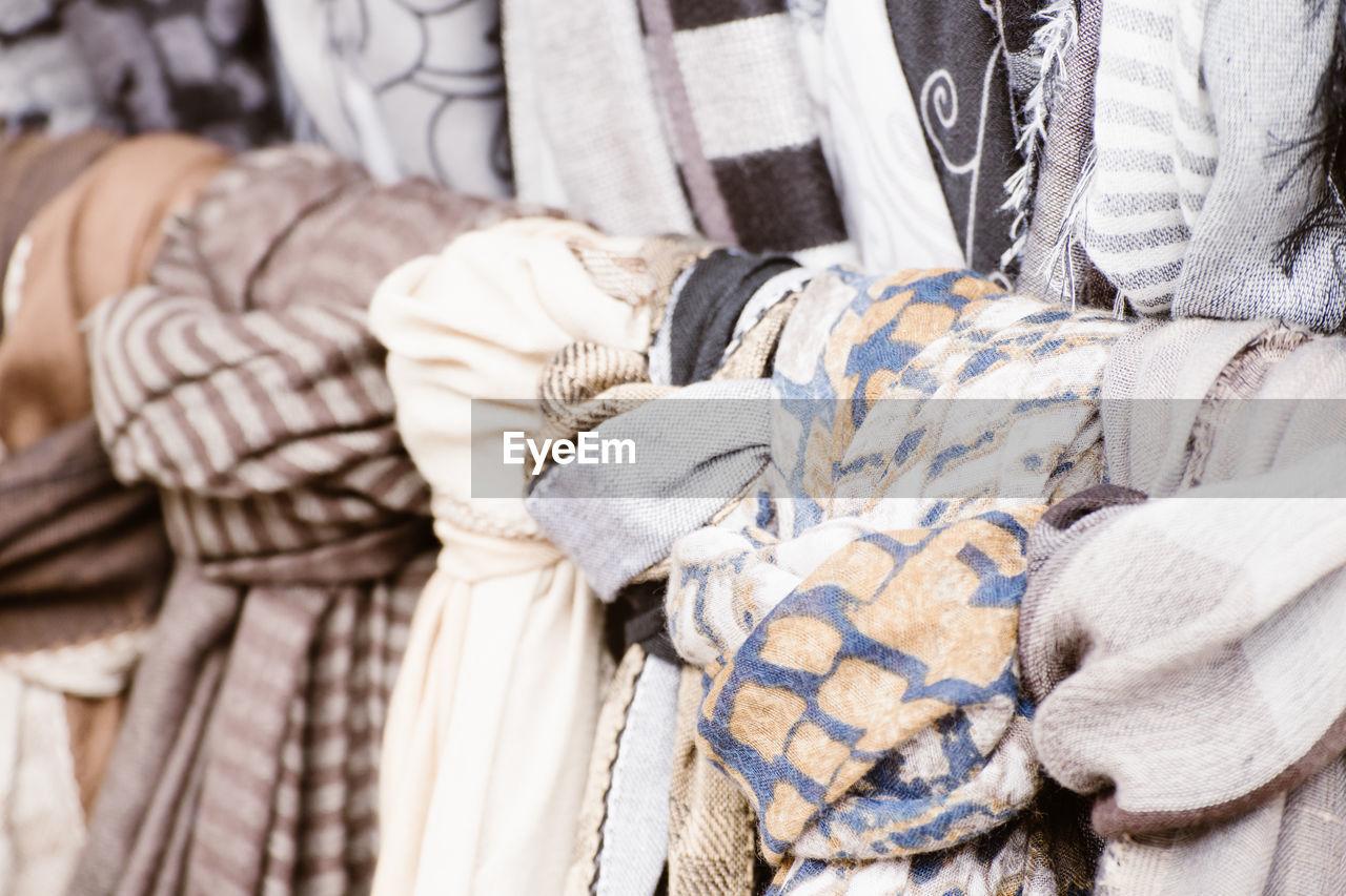 Full frame shot of scarfs for sale at market