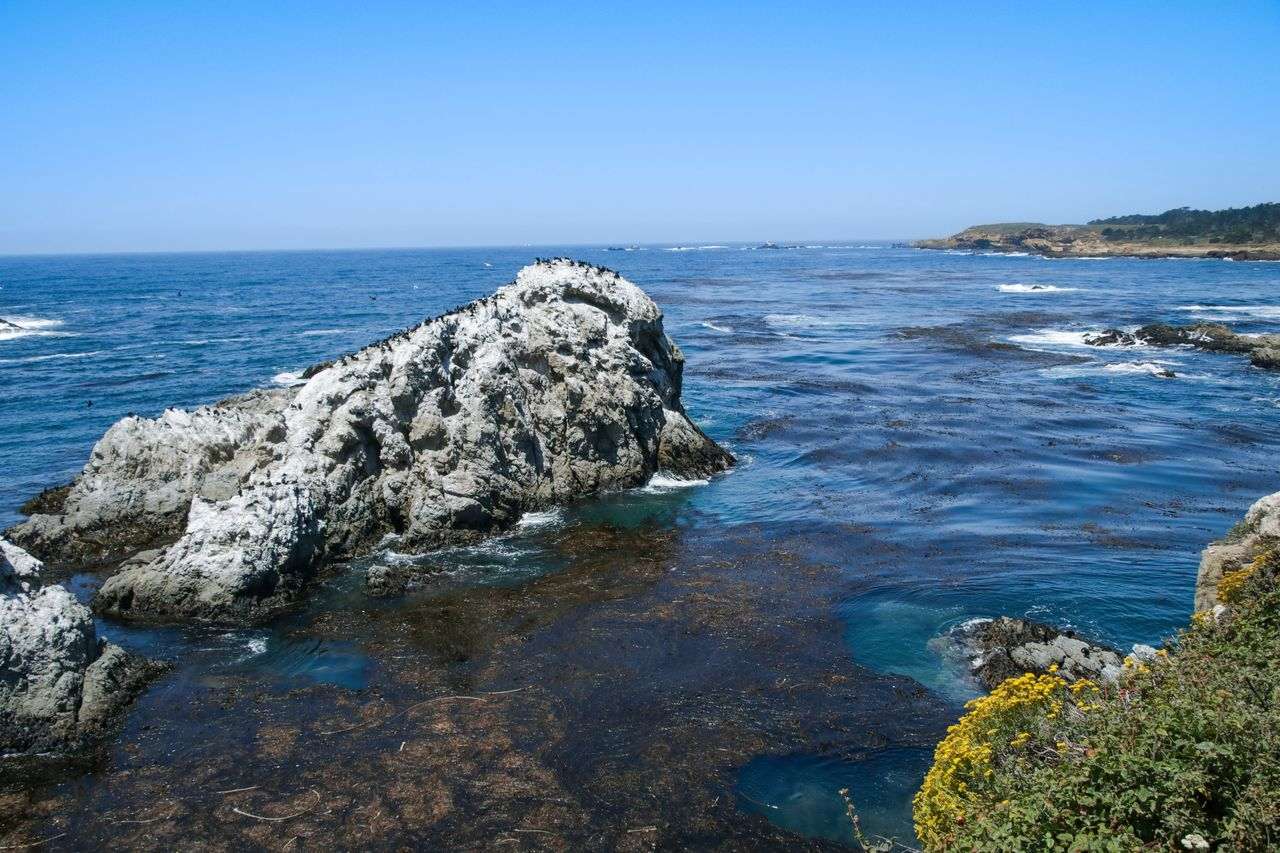 water, sea, sky, rock, beauty in nature, rock - object, scenics - nature, solid, nature, tranquility, horizon, blue, no people, tranquil scene, land, horizon over water, beach, day, clear sky, outdoors, rocky coastline, shallow