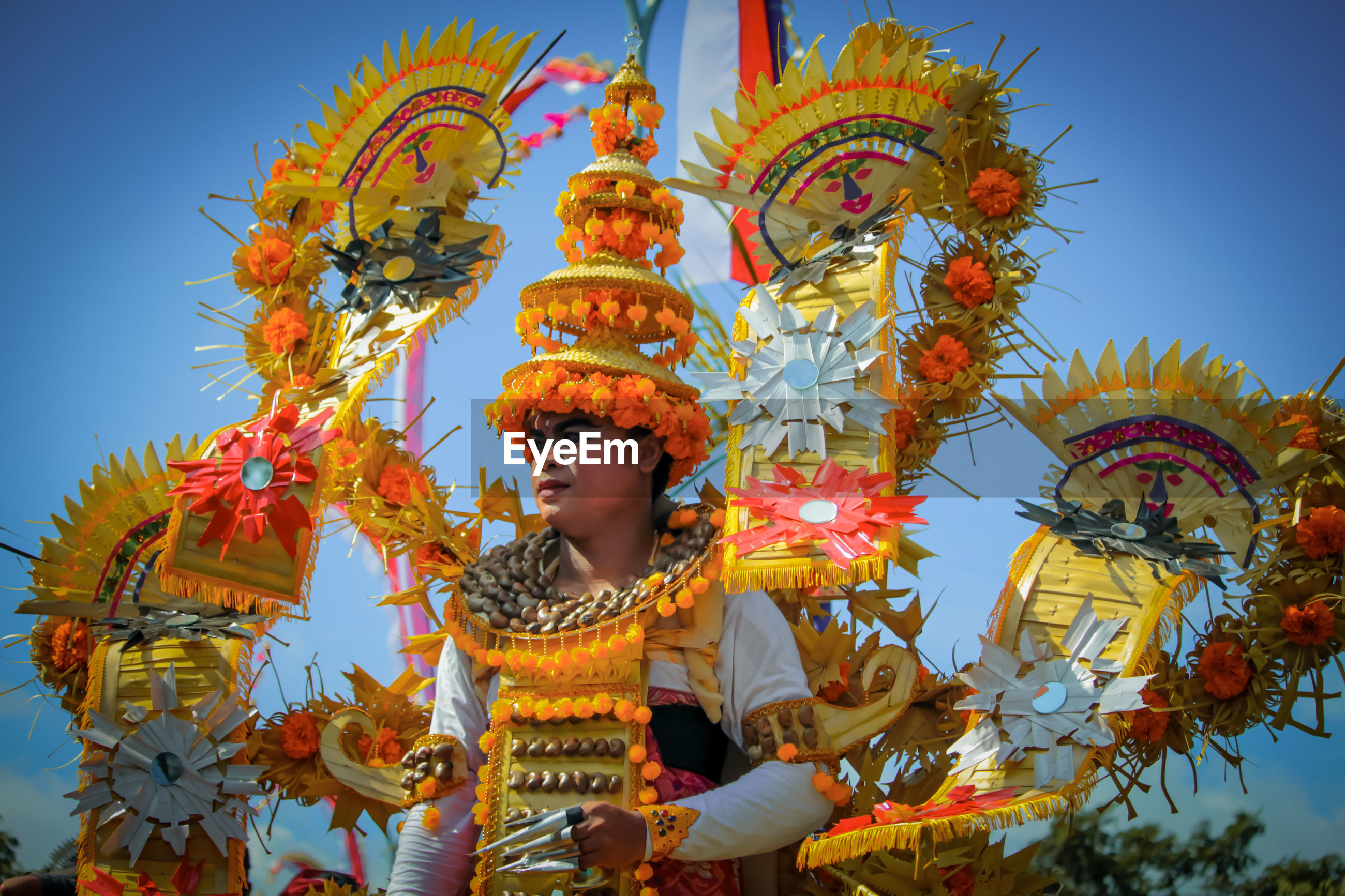 Low angle view of man wearing costume against sky