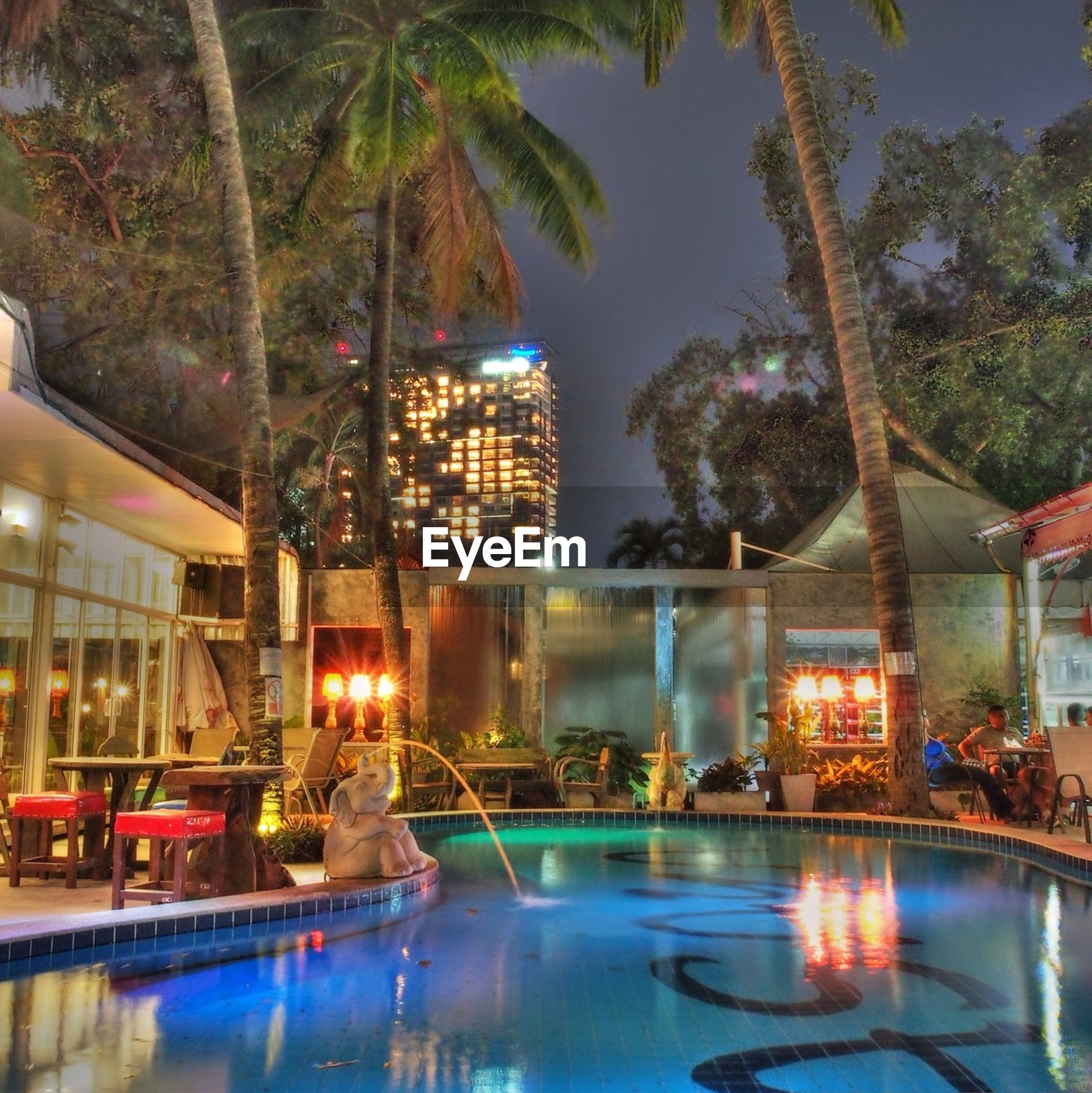 water, building exterior, reflection, illuminated, architecture, built structure, waterfront, tree, city, night, fountain, palm tree, pond, river, swimming pool, building, sky, outdoors, residential building, no people
