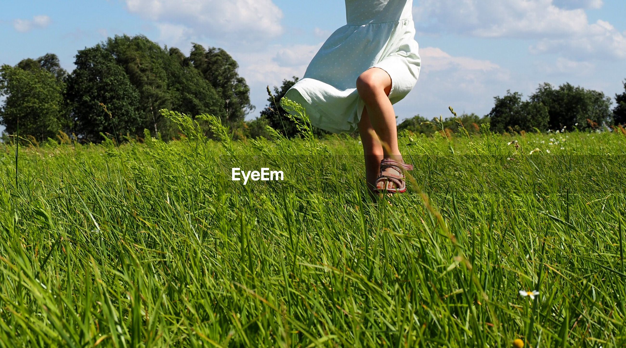 Low section of girl running on grassy field