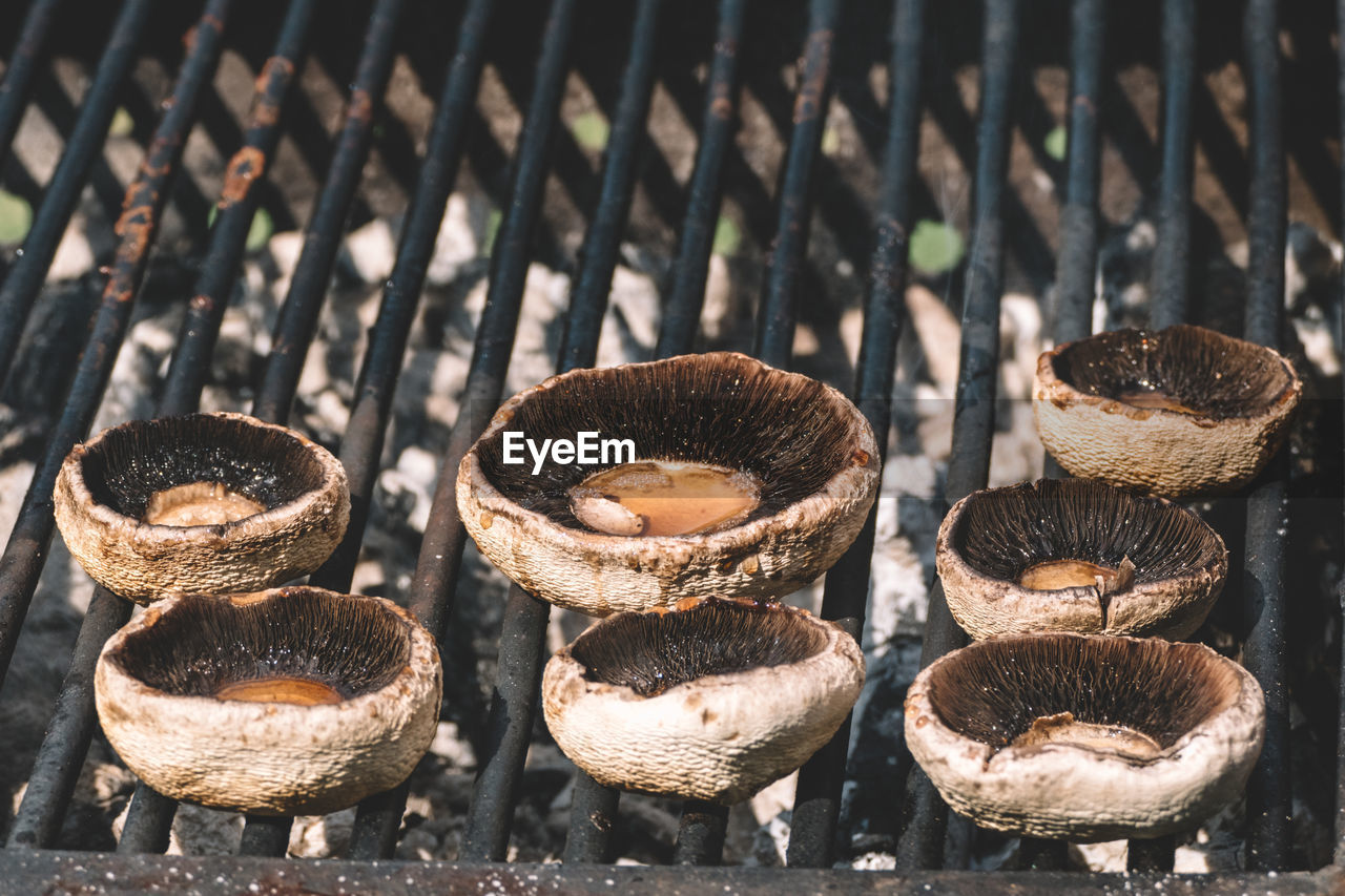 Mushrooms On Barbecue Grill