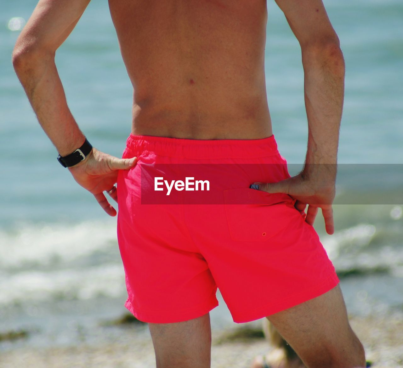 water, real people, beach, leisure activity, sea, one person, lifestyles, human body part, land, midsection, day, standing, nature, adult, rear view, clothing, focus on foreground, body part, outdoors, hand, shorts, couple - relationship