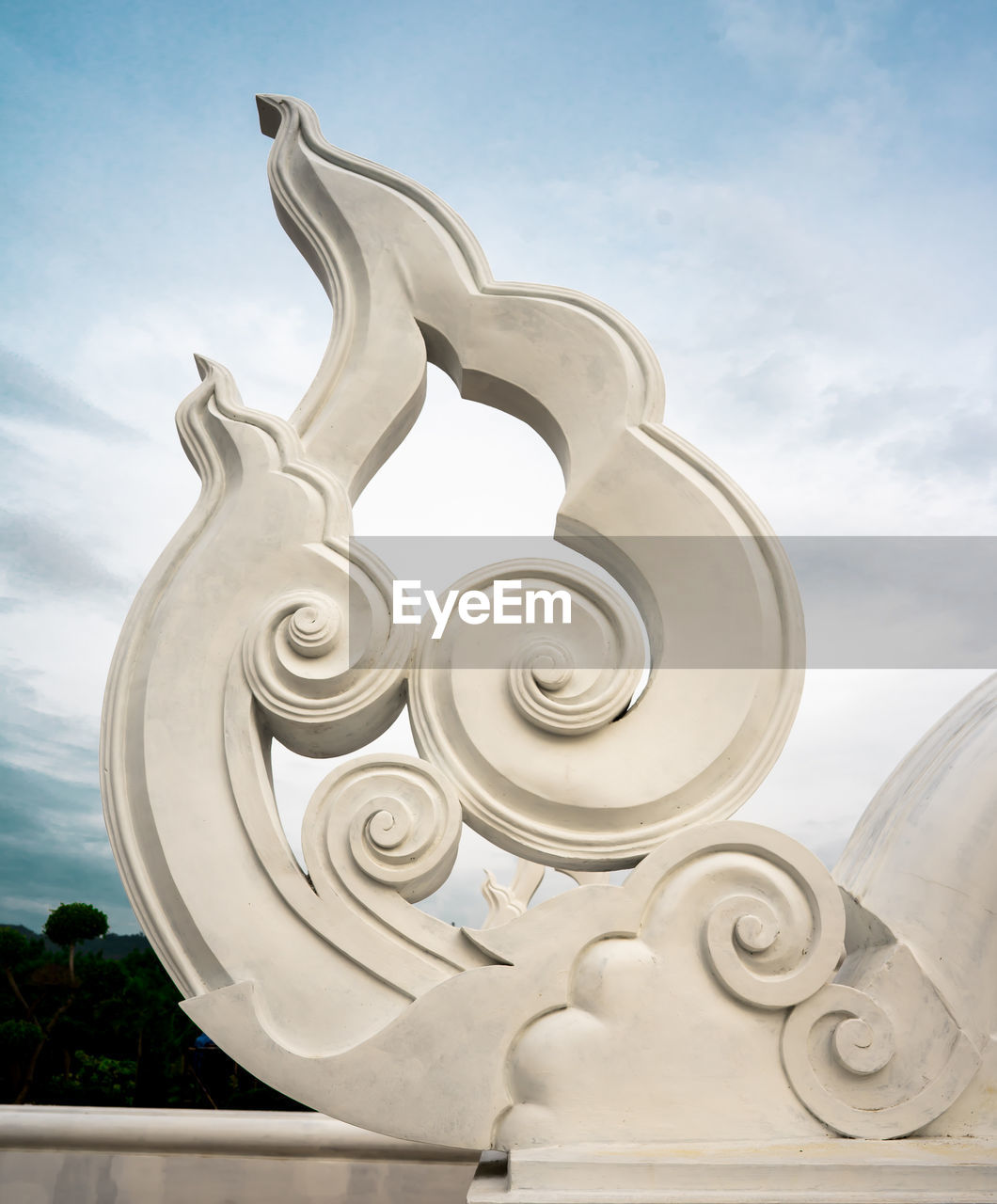 cloud - sky, sky, art and craft, white color, no people, day, creativity, pattern, low angle view, nature, sculpture, craft, design, close-up, architecture, outdoors, carving - craft product, metal, focus on foreground, built structure, silver colored, ornate