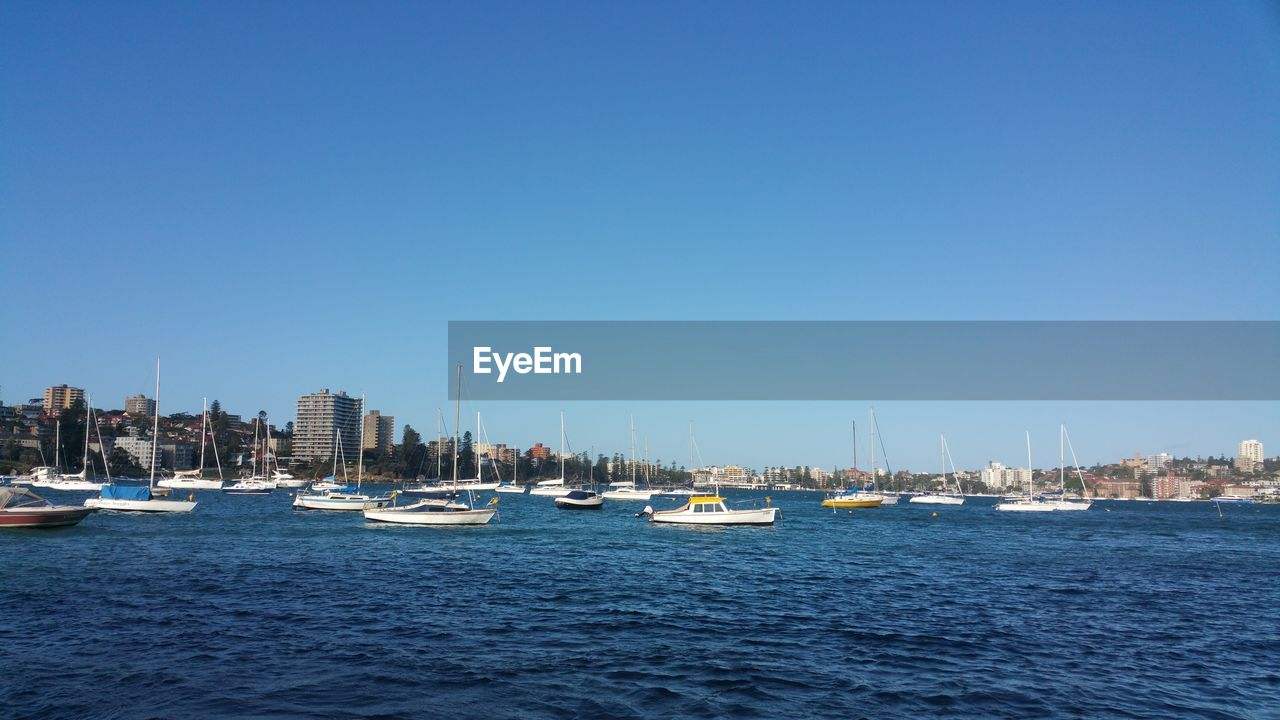 nautical vessel, clear sky, copy space, cityscape, city, mode of transport, boat, transportation, sea, waterfront, architecture, water, blue, yacht, no people, built structure, skyscraper, building exterior, sailboat, outdoors, day, moored, sailing, harbor, urban skyline, mast, nature, sky