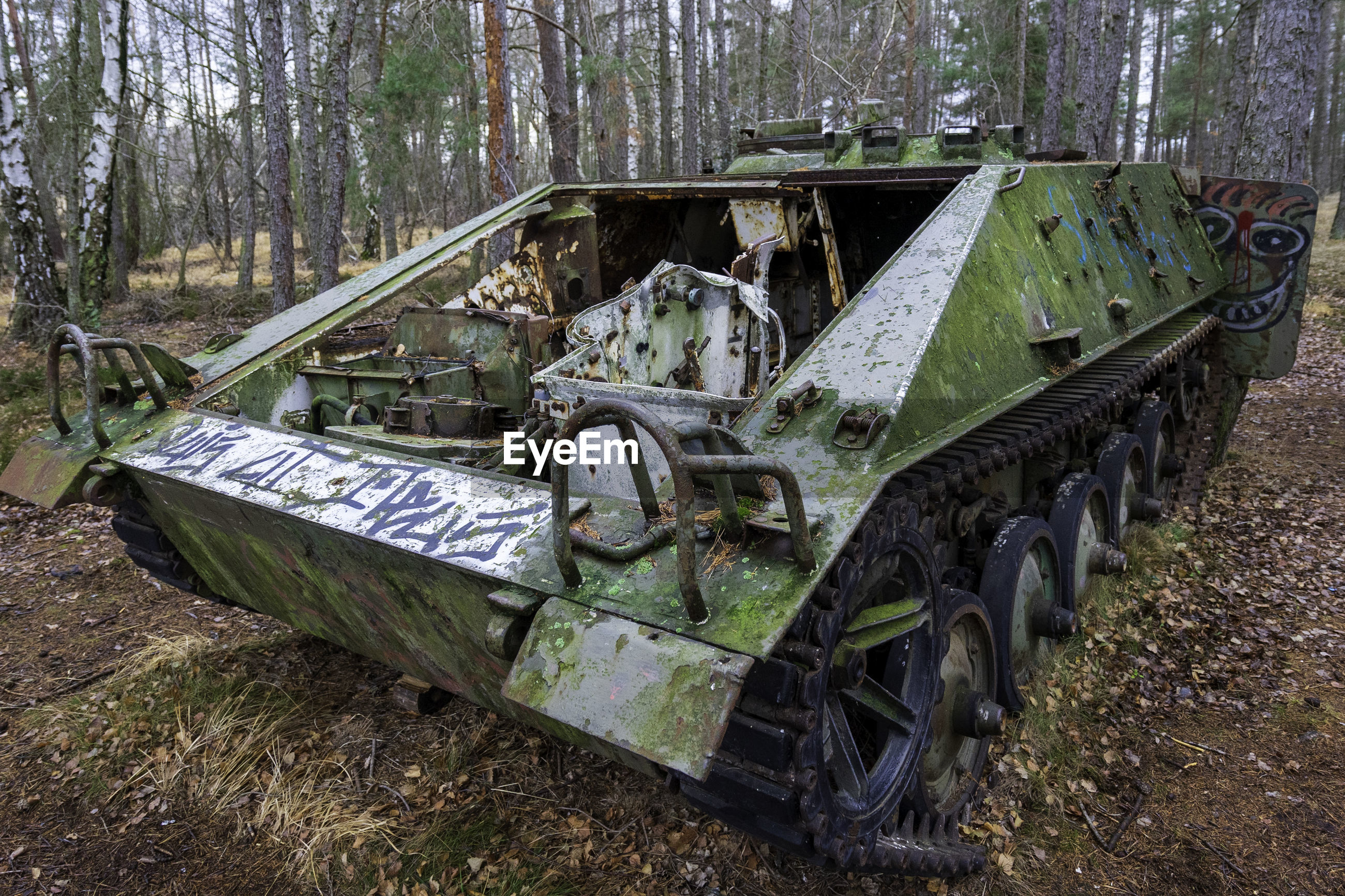 Abandoned tank in a forest