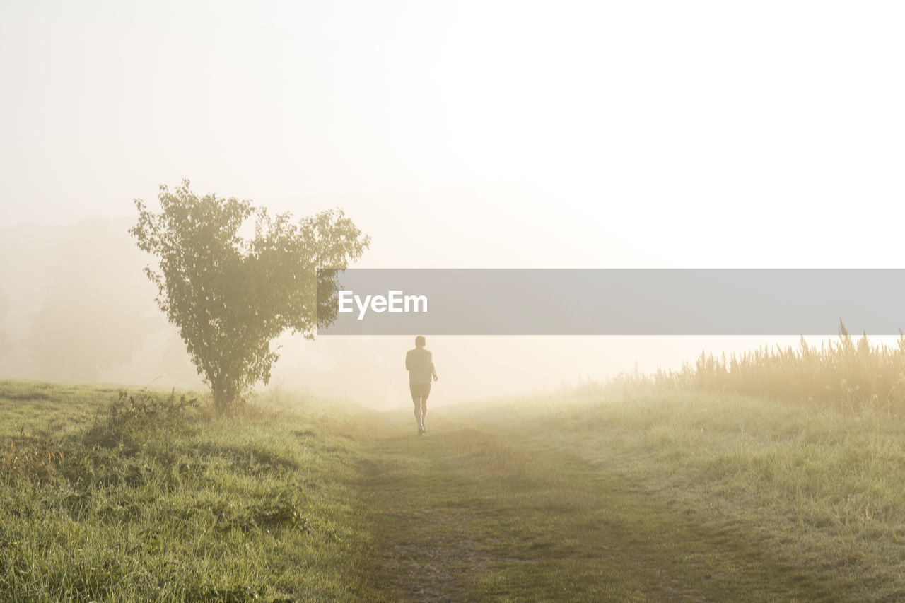 Rear View Of Man Jogging On Grassy Field During Foggy Weather