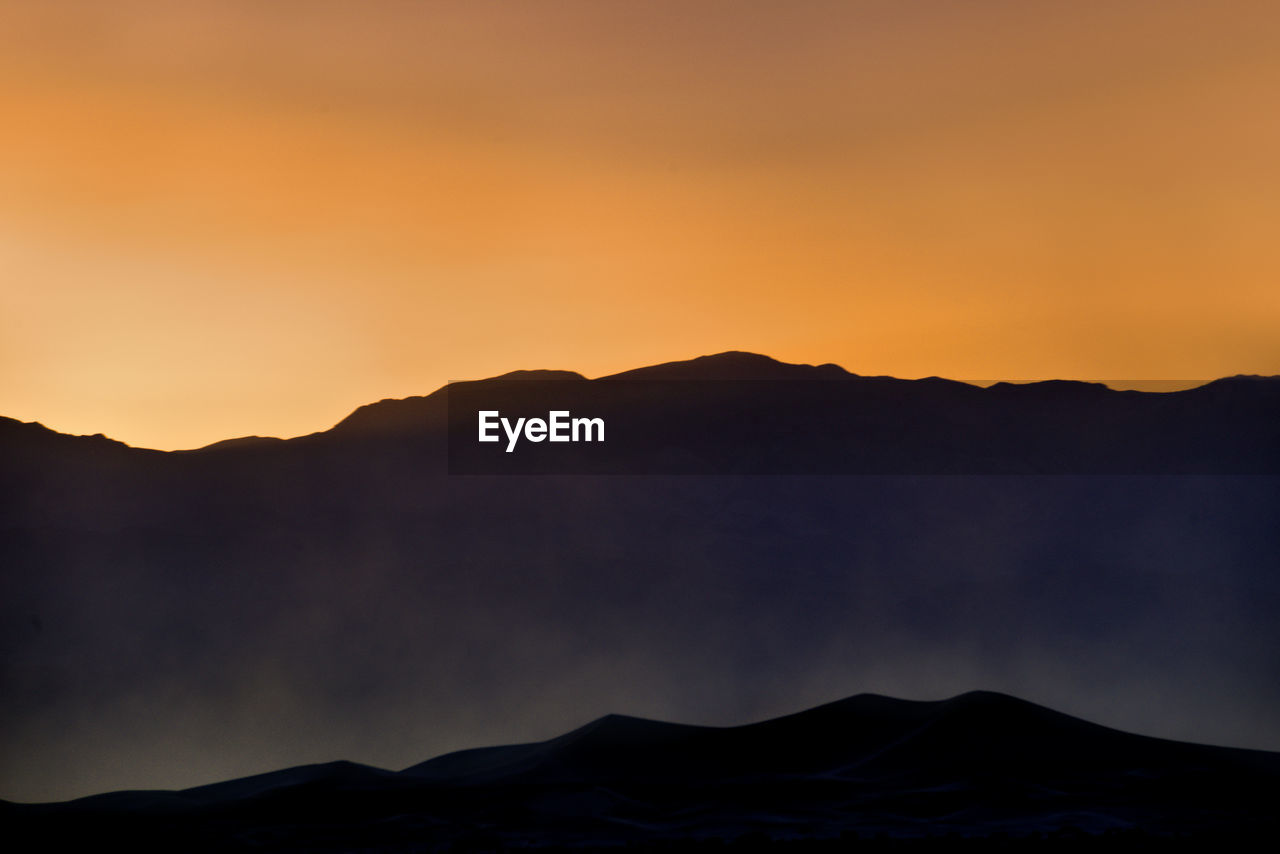 SCENIC VIEW OF SILHOUETTE MOUNTAINS AGAINST CLEAR SKY AT SUNSET